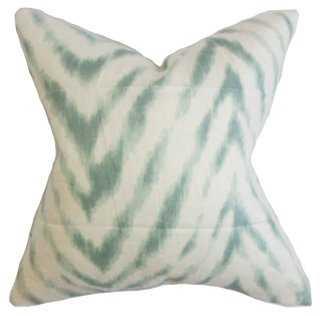 Animal 18x18 Cotton Pillow, Aqua/Ivory, insert - One Kings Lane