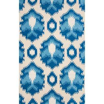 Handmade Ikat Abstract Wool/ Viscose Blue Rug - Overstock