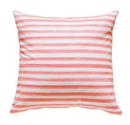 Coral Hawthorne Stripe Pillow -  24x24 - Insert Sold Separately - Caitlin Wilson