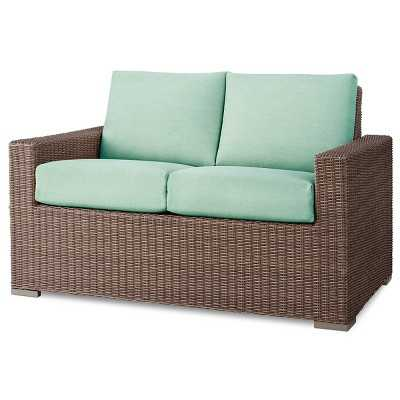 Heatherstone Wicker Patio Loveseat - Seafoam - Target