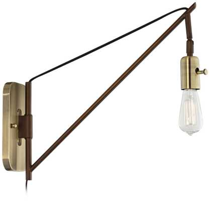 """Hobson Bronze and Antique Brass 17"""" High Wall Sconce - Lamps Plus"""