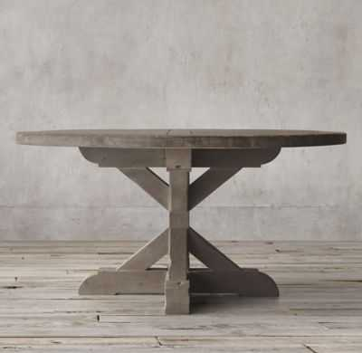 SALVAGED WOOD X-BASE ROUND DINING TABLE - RH