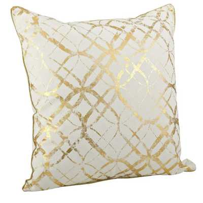 "Lustrous Metallic Foil Print Throw Pillow-20""Sq, Gold, Feather insert - AllModern"