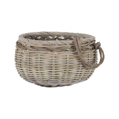 Sumbawa Basket In Natural Rattan And Grey Stained Rope - Small - Rosen Studio