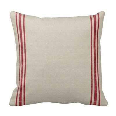 Striped Grain Sack Inspired Throw Pillow - 16x16 - Red - With Insert - zazzle.com
