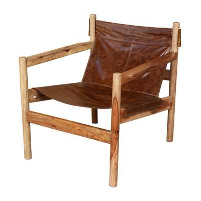 Porter Genoa Solid Sheesham and Leather Sling Chair (India) - Overstock