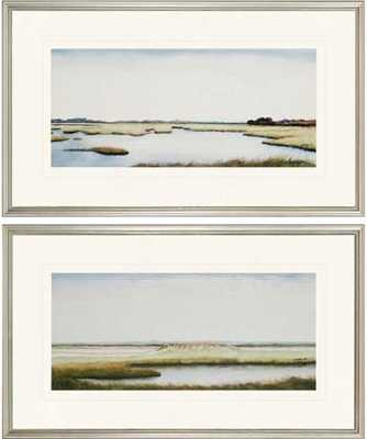 """Marshlands I Wall Art - Set of 2 - 18""""H x 30""""W  - Frame (silver)- With mat - Home Decorators"""