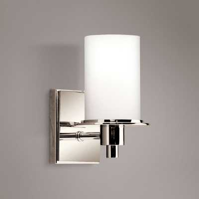 """Polished Nickel and Etched Glass 8 1/2"""" High Wall Sconce - Lamps Plus"""