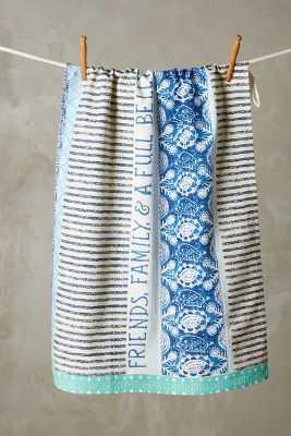 Embroidered Gratitude Dishtowel - Blue - Anthropologie