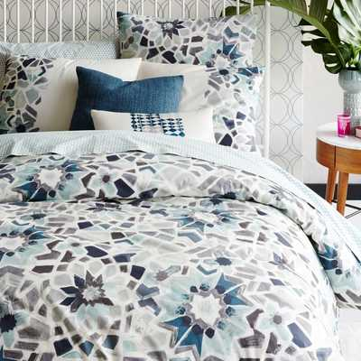 Organic Stained Glass Floral Duvet Cover, King, Pale Harbor - West Elm