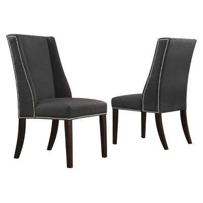 Harlow Wingback Dining Chair with Nailheads Wood/Dark Gray (Set of 2) - Inspire Q - Target