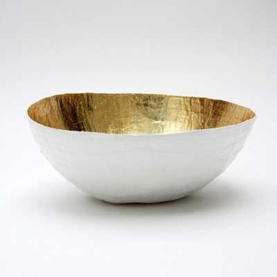 Paper Mache Bowl, White and Gold - Etsy