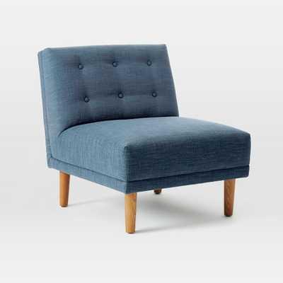 Rounded Retro Armless Chair-Linen Weave- Regal Blue - West Elm