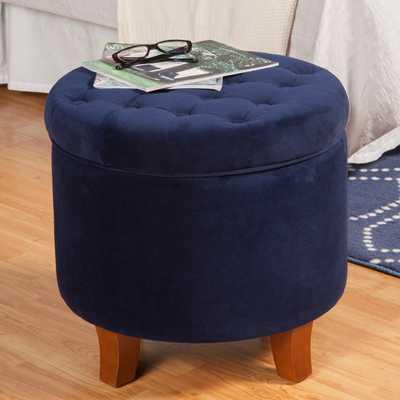 HomePop Large Button-Tufted Round Storage Ottoman - Overstock