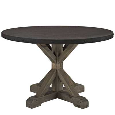 Stitch Wood Top Dining Table in Brown - Domino