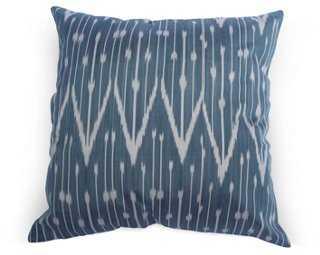 Milka 18x18 Silk Pillow, Navy/Ivory, insert - One Kings Lane