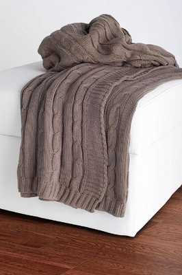 CABLE KNIT DECORATIVE THROW - Gray - Home Decorators