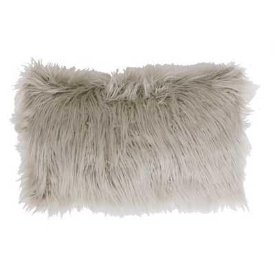 "Keller Faux Mongolian Rectangle Throw Pillow, Silver 12""x20"" Polyester Insert - Overstock"