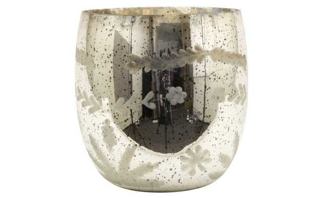 Etched Mercury Glass Vase-Small - Domino
