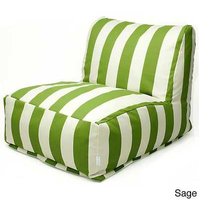 Indoor/Outdoor Vertical Strip Bean Bag Chair Lounger - Sage - Overstock
