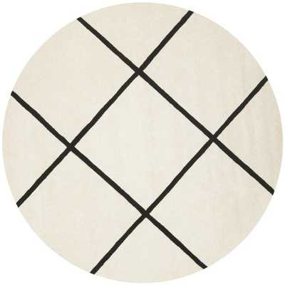Safavieh Handmade Moroccan Ivory Wool Rug with Large Checkered Pattern(7' Round) - Overstock