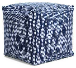 Pearl Pouf, Navy/White - One Kings Lane