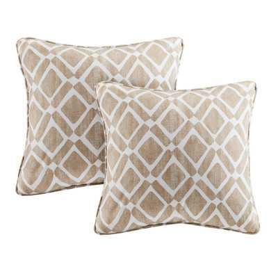 "Delray Throw Pillow - Tan -20"" - Polyester/Polyfill insert (set of 2) - Wayfair"