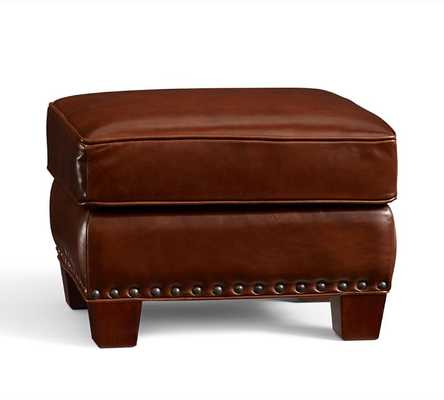 Irving Leather Storage Ottoman - Leather, Molasses - Pottery Barn