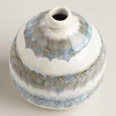 Gray Thai Stripe Ceramic Vase-Short - World Market/Cost Plus