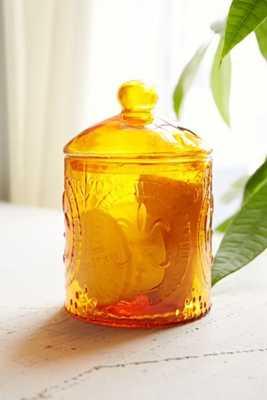 Fleur-De-Lys Glass Jar - Dark Orange - Urban Outfitters