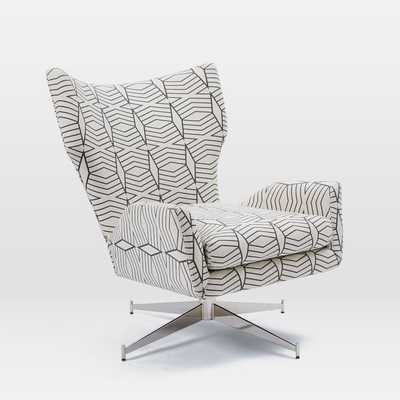 Hemming Swivel Armchair - Diamond Stripe, Irongate - West Elm