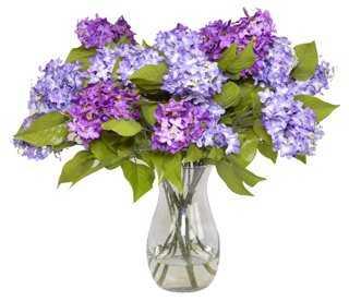 Purple Lilacs in Glass Vase, Faux - One Kings Lane