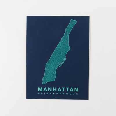 "Native Maps - Manhattan Print, Teal + Navy - 18""w x 24""l - Unframed - West Elm"