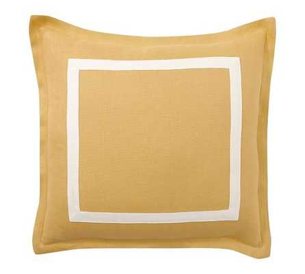 "TEXTURED LINEN FRAME PILLOW COVER, 20"", YELLOW GOURD/IVORY, NO INSERT - Pottery Barn"