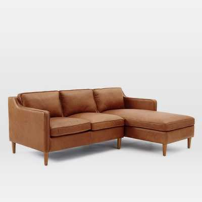Hamilton 2-Piece Leather Chaise Sectional - Left Arm Loveseat + Right Arm Chaise - West Elm