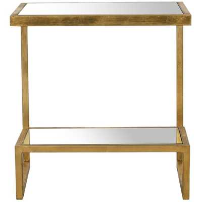 Gold/ Mirror Top Accent Table - Overstock