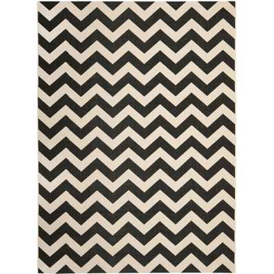 "Safavieh Courtyard Black/Beige Indoor Outdoor Rug - 6'7"" x 9'6"" - Overstock"
