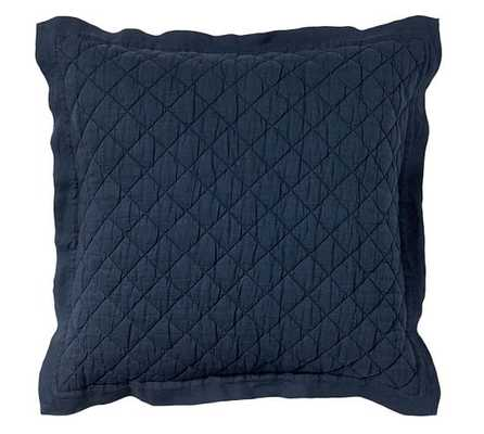 BELGIAN FLAX LINEN DIAMOND SHAM - Euro - MIDNIGHT - Pottery Barn