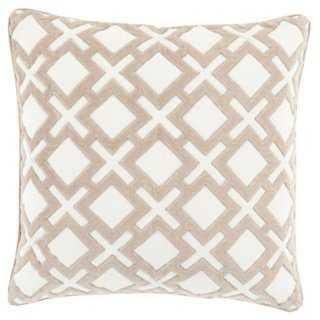 Harmony 18x18 Pillow, Ivory, insert - One Kings Lane