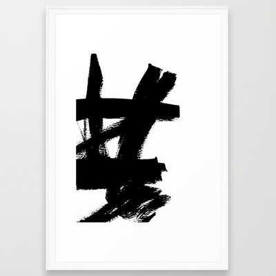 """Abstract black & white 2 - FRAMED ART PRINT/SCOOP WHITE  (26"""" X 38"""") - Society6"""