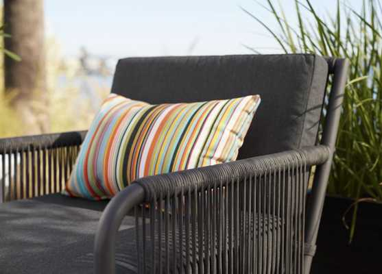 Chromatic Micro Striped Outdoor Lumbar Pillow - With Insert - Crate and Barrel