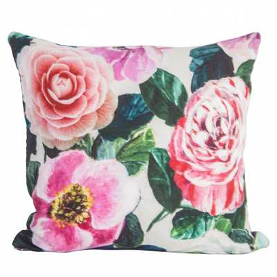 """Multicolor Peony Pillow - 18"""" x 18""""  - without insert - Society Social"""