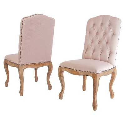 Studded Dining Chair Weathered Wood/Tan (Set of 2) - Christopher Knight Home - Target