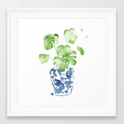 """Ginger Jar + Monstera - 12"""" x 12"""" - Framed - Society6"""