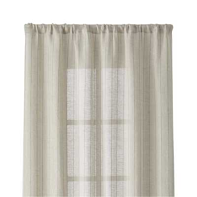 """Ellsbury 48""""x84"""" Linen with Green Stripe Curtain Panel - Crate and Barrel"""