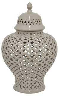 "15"" Pierced Temple Jar, Taupe - One Kings Lane"