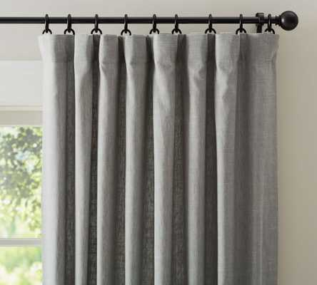 "Emery Linen/Cotton Drape - Single Width,  Cotton lining, Gray,96"" - Pottery Barn"