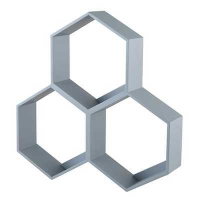 Grey Honeycomb Shelf - Land of Nod