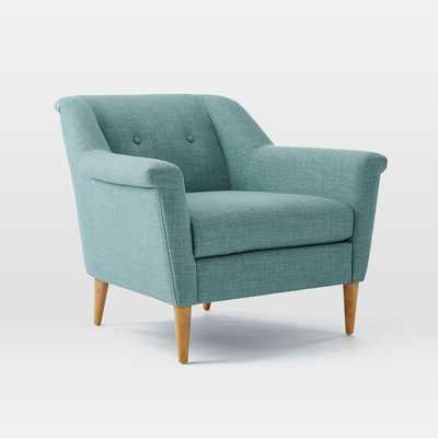 Finn Armchair - Heathered Weave, Eucalyptus - West Elm