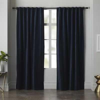 """Velvet Pole Pocket Curtain - Regal Blue - Unlined - 108""""L - West Elm"""